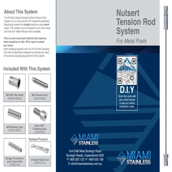 Nutsert tension rod system metal brochure
