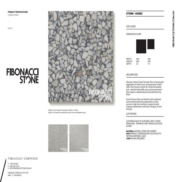 Fibonacci Stone Storm Honed Product Sheet