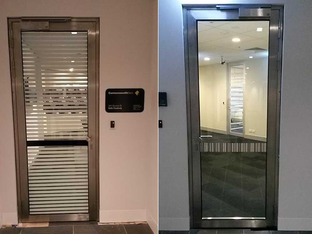 The stainless steel fire doors at Commonwealth Bank of Australia
