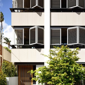 Warm materiality feature at new Melbourne apartments by Carr Design Group and MA Architects