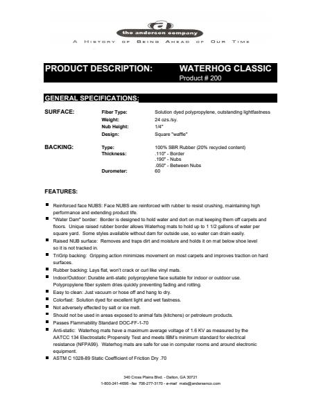 Waterhog Classic No.200 Material Safety Data Sheet