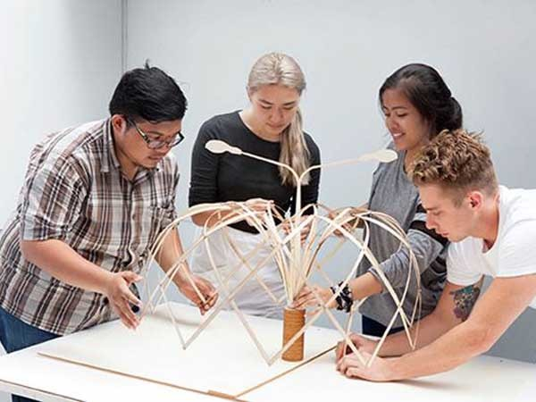 Architecture students from the University of Sydney and Bandung Institute of Technology finalise their design concept Bunga Bandung (translation: flower)