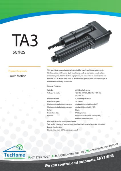 TEC FactSheet Actuators TA3