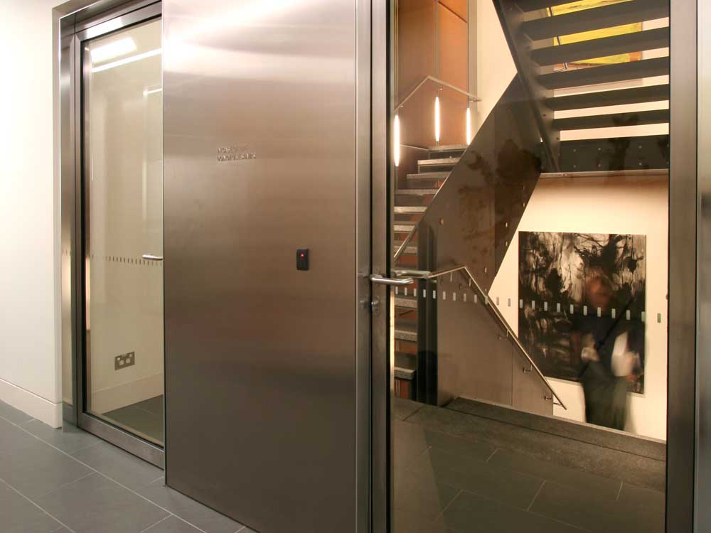 Stainless steel fire rated doors