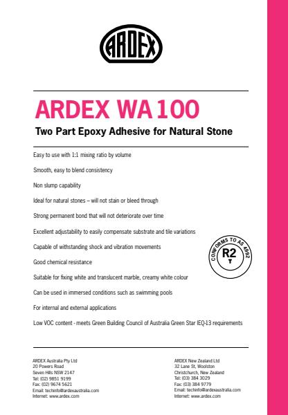 ARDEX WA 100 Two Part Epoxy Adhesive for Natural Stone