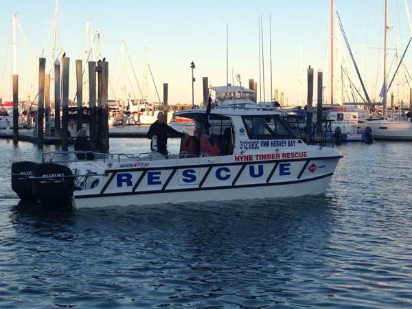 Hyne Timber Rescue in Hervey Bay Marina preparing for the blessing (Photo: Hyne Timber)