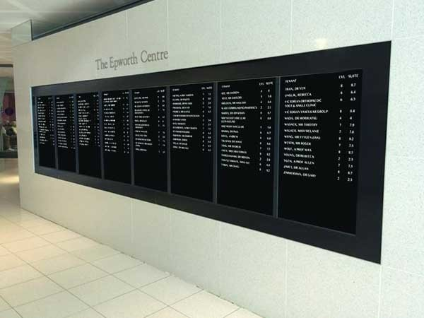 JDS digital directory boards at Epworth Healthcare