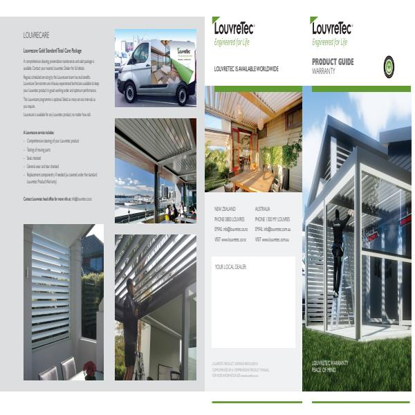 Louvretec Product Guide Warranty and Louvrecare Brochure