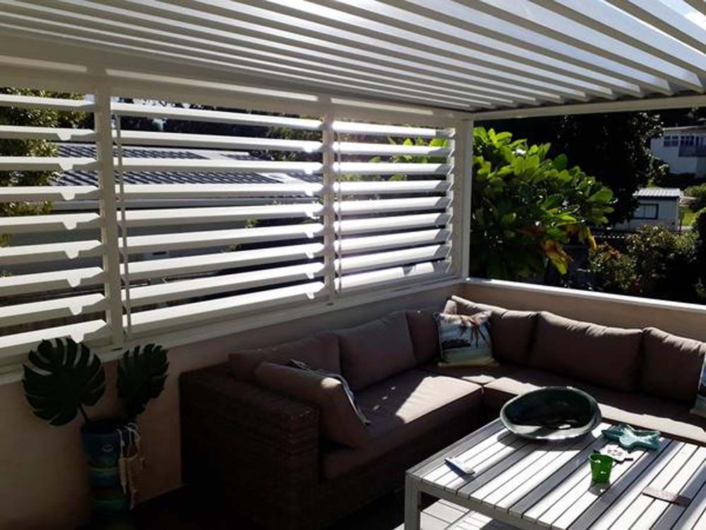 Outdoor room featuring louvres