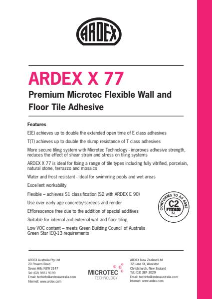 ARDEX X 77 - Premium Microtec Flexible Wall and Floor Tile Adhesive