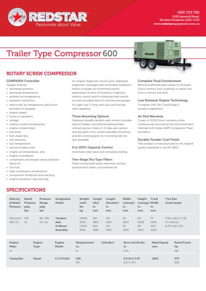 Trailer Type Compressor 600