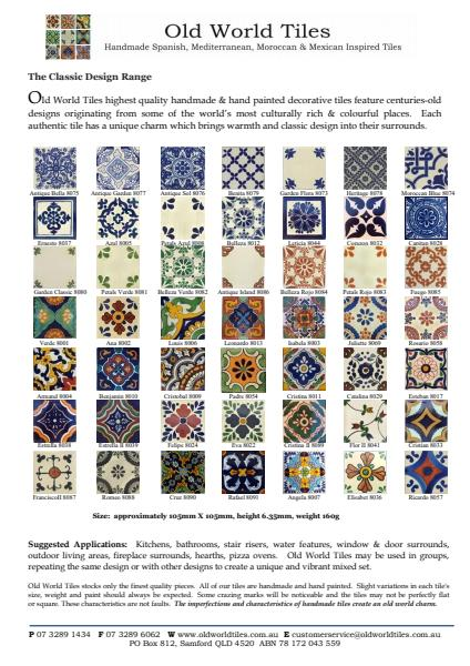 Handmade Spanish, Mediterranean, Moroccan and Mexican Tiles