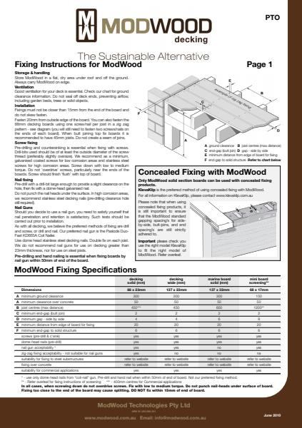ModWood Fixing Decking Instructions