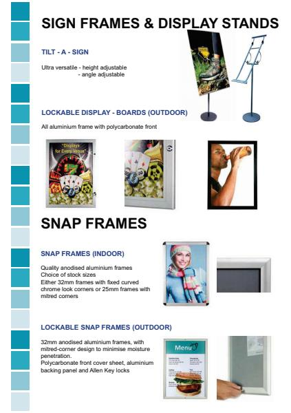 Tilt-A-Sign, Lockable Display Boards and Snap Frames
