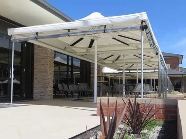 Celmec's foldable Heatray heated shade umbrellas (CTS 43) were installed in the lounge terrace and breakfast area
