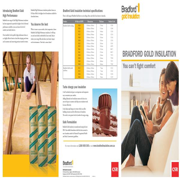 Bradford™ Gold Insulation Product Brochure