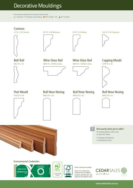 Cedar Sales Mouldings Fact Sheet