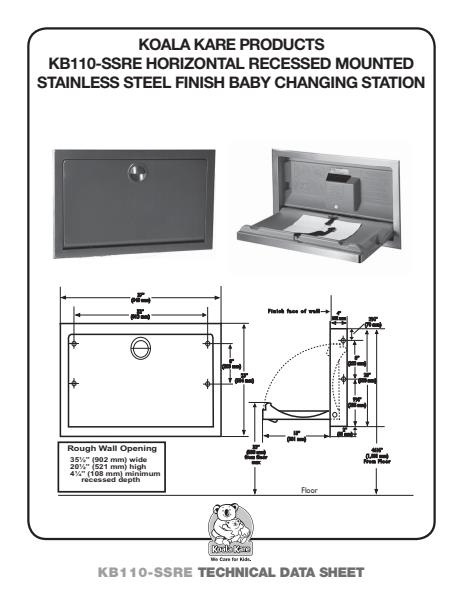 Horizontal Recessed Mounted Stainless Steel Changing Station