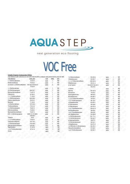 AquaStep Flooring Volatile Organic Compounds free