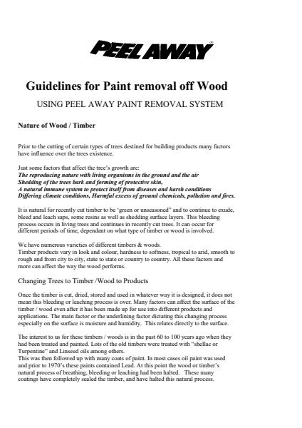 Stripping of Wood and Timber Guide Sheet